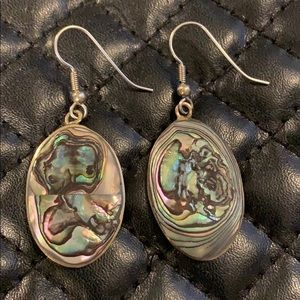 Vintage 90s Mexican Silver Abalone Shell Earrings